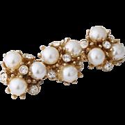 Vintage Bridal Faux Pearl and Crystal Pin/Brooch