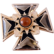 1960s Rare Accessocraft Smokey Glass Gold-Tone Maltese Cross Brooch/Pin