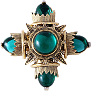 1960s Jeweled Maltese Cross Pendant or Pin with Emerald Green Cabochons