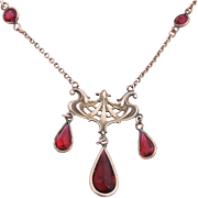 Elegant Art Nouveau Styled Necklace with Ruby Red Glass Jewels