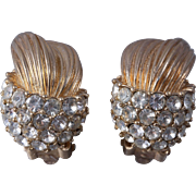 Ciner Half Pavé Huggie Gold/Crystal Clip-On Earrings