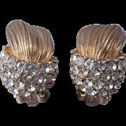 """Ciner """"Huggie"""" Crystal Gold-Tone Clip-On Earrings"""