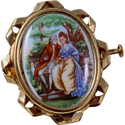 """"""" Romance in France"""" P. Pastaud Hand-Painted Limoges Brooch/Pin"""