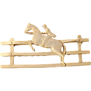 Rare Elias Artmetal 18K Gold Plated Fine Pewter Equestrian Jockey Pin