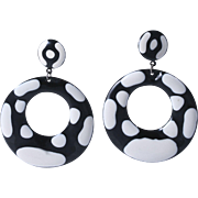 1960s Pop Art Black and White Hoop Earrings for Pierced Ears