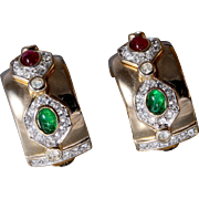 Ruby, Emerald and Diamond Simulated Gold-Plated Half-Hoop Earrings