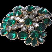 Emerald Green Rhinestone Pendant Brooch