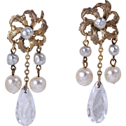 Miriam Haskell Bridal Dangle/Drop Glass Baroque Pearl and Crystal Earrings
