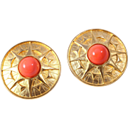 "Magnificent Karl Lagerfeld Gold-Plated ""Flame"" Clip-On Earrings"