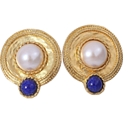 Les Bernard Etruscan Styled Simulated Pearl and Lapis Lazuli Earrings
