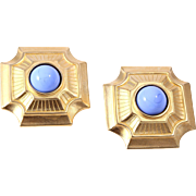 Karl Lagerfeld Gold-Plated 1980s Egyptian-Styled Cornflower Cabochon  Earrings
