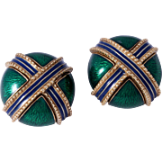 Vintage Ciner Signed Green Enamel X Pattern Clip Earrings