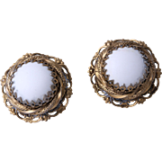 50% OFF - Nice White Cabochon Filigree Earrings