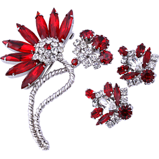 Rare Sherman Siam Red Figural Flowers Brooch/Pin and Earrings
