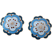 Metropolitan Museum of Art (MMA) Blue  Enamel Floral Earrings