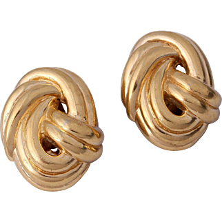 Vintage CINER Gold-Plated Love Knot Clip-On Earrings