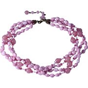 """1950s Miriam Haskell """"Shades of Pink"""" Glass Bead Four Strand Necklace"""