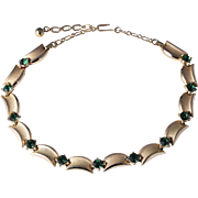 Emerald Green Rhinestone Gold-Tone Trifari Choker Necklace