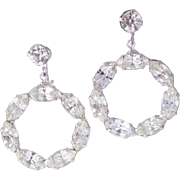 WEISS Brilliant Dangling Clear Rhinestone Wreath Earrings  (Rarely Seen)
