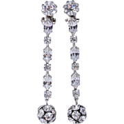 WEISS Sensational Long Clear Rhinestone Drop Earrings