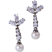 STERLING SILVER Pearl and Crystal Post Drop Earrings Signed Carolee
