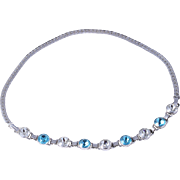 Sterling Engel Brothers Art Deco Style Clear and Blue Crystal Necklace