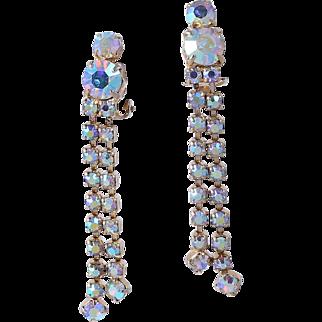 Unsymmetrical Austrian Crystal Linear Drop Earrings