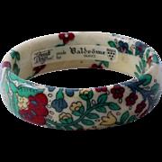 Vintage French Floral Fabric Lucite Bangle/Bracelet