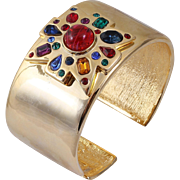 KJL Kenneth Jay Lane Gold-Tone Jeweled Maltese Cross Hinged Cuff Bracelet