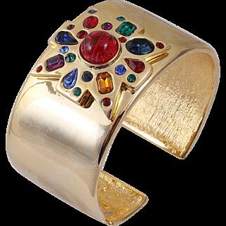 KJL Kenneth Jay Lane Gold-Tone Jeweled Maltese Cross Hinged Cuff Bracelet