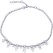 Vintage Sherman Bridal Clear Crystal Diamante Necklace