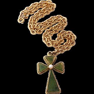 1/2 Off Swoboda Jade Cross Pendant Necklace