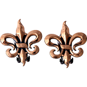 """Renoir 1950s """"Fleur-De-Lis"""" Copper Earrings"""
