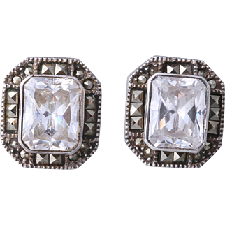 Vintage Judith Jack Sterling Crystal Marcasite Stud Earrings