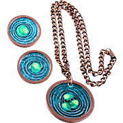 "Book Piece Matisse Copper and ""Cosmic Gas"" Enamel Pendant Necklace and Earrings"