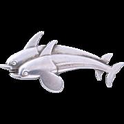 SALE Georg Jensen Sterling Silver Dolphins Pin/Brooch (Denmark, No. 317)