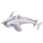 Vintage Georg Jensen Sterling Silver Dolphins Pin/Brooch (Denmark, No. 317)