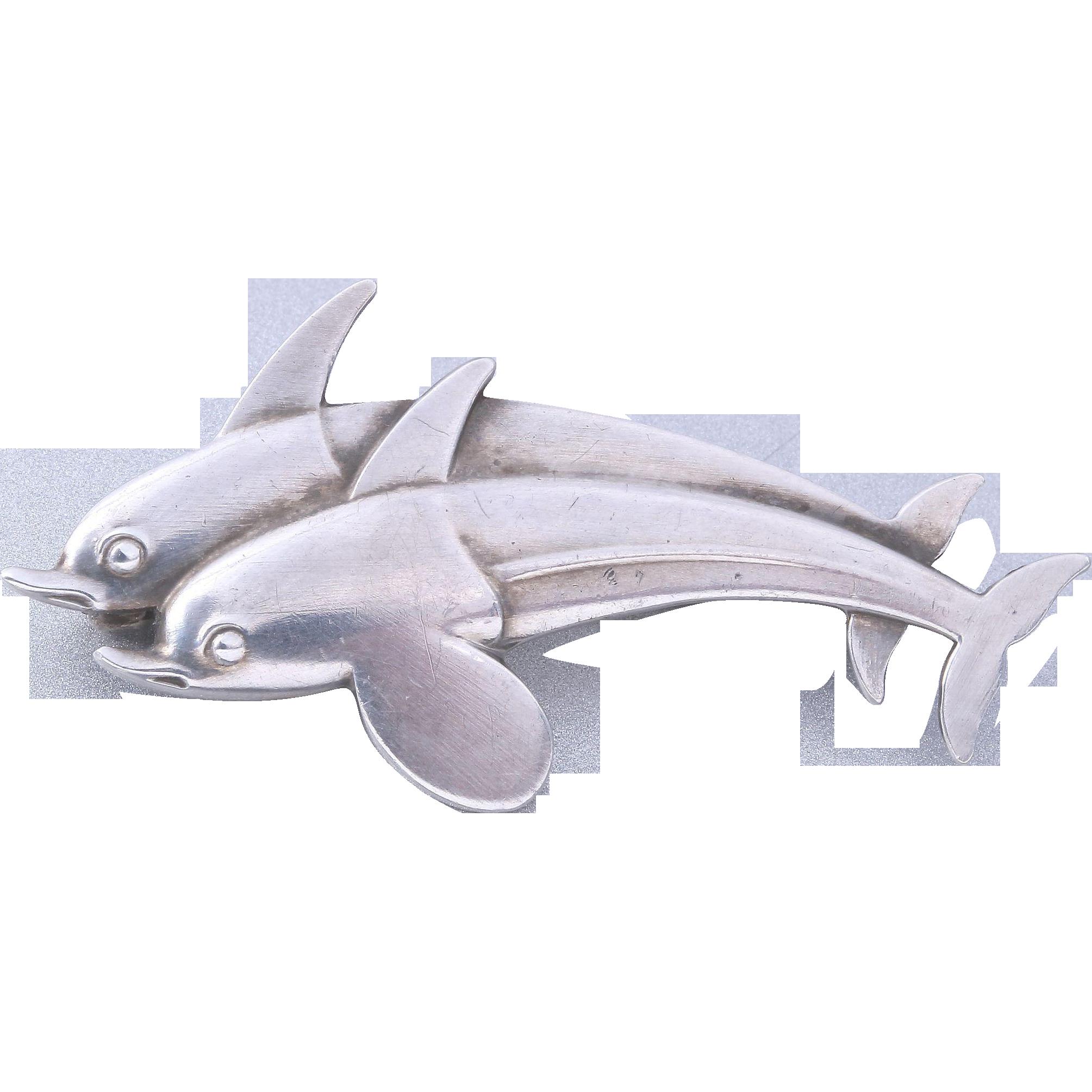 sale georg jensen sterling silver dolphins pin brooch. Black Bedroom Furniture Sets. Home Design Ideas