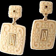 Crown Trifari Carved Lucite Dangle/Drop Earrings