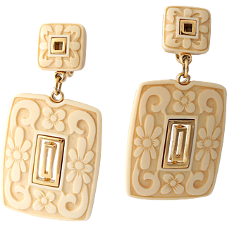 1/2 Off -Crown Trifari Carved Lucite Dangle/Drop Earrings