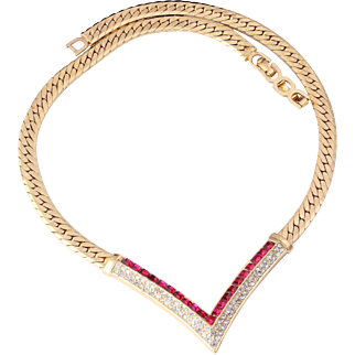 Vintage Christian Dior Gold-Plated Diamante Necklace