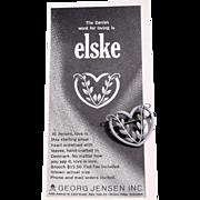Vintage Georg Jensen Sterling Silver Heart and Laurel Leaves Brooch/Pin, Denmark 242B