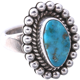 Vintage Artie Yellowhorse Sterling Silver Turquoise Ring Size 7
