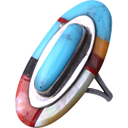 Vintage TJO Oval Turquoise, Mother of Pearl & Coral Sterling Silver Ring (Size 7)