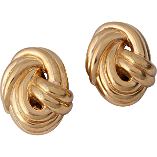CINER Heavily Gold-Plated and Ribbed Love Knot Earrings