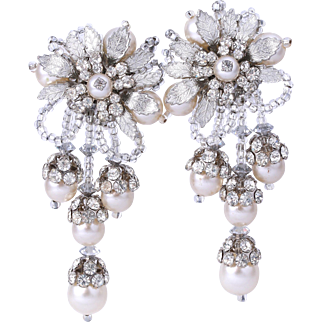 50% Off- Lois Ann Bridal Faux Pearl  and Crystal Bridal Earrings