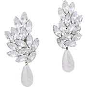 Thelma Deutsch Glamorous Faux Baroque Pearl and Crystal Dangle/Drop Earrings