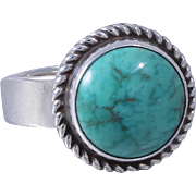 1970s Navajo Artie Yellowhorse Sterling Silver Turquoise Ring Size 6.5