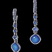 Vintage GIVENCHY PIERCED Blue Moonstone Crystal Drop/Dangle  Earrings