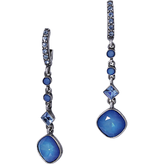 Vintage GIVENCHY PIERCED Blue Moonstone Crystal Drop/Dangle  Earrings